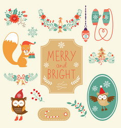 Cute Christmas clipart collection vector image