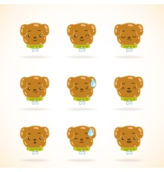 Cute dog colorful emotions vector image