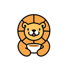 cute lion coffee cup drink playful cartoon logo vector image