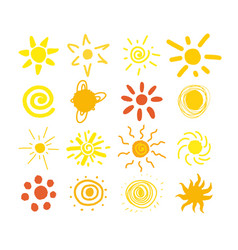 cute set of abstract sun icon in different vector image