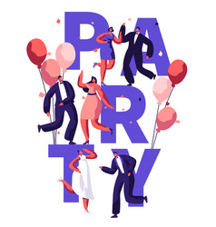 dance party birthday typography banner vector image
