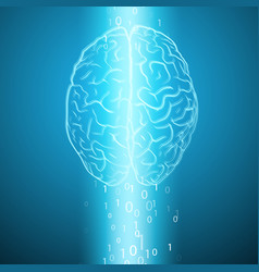 digital brain on blue background vector image