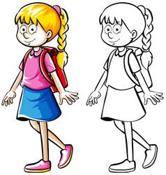 Doodle drafting of schoolgirl with bag vector
