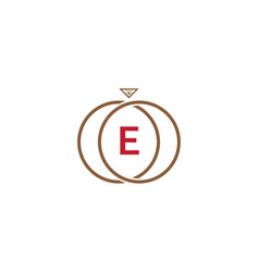 e letter ring diamond logo vector image
