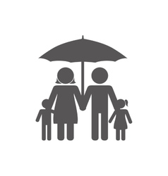 Family silhouette with umbrella vector