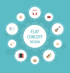 flat icons acoustic retro disc banjo and other vector image