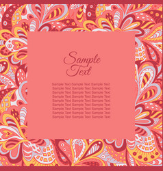 Floral doodle ethnic pattern frame rosy tones for vector