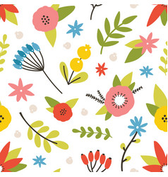 floral seamless pattern with blooming meadow vector image