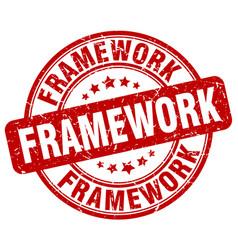 Framework red grunge stamp vector