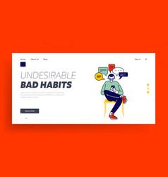 gadget addiction bad habits cellphone landing vector image