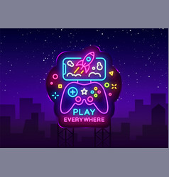 Gamepad and smartphone neon sign games for vector