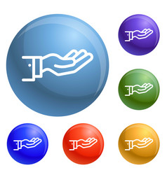 give hand icons set vector image