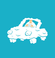 god in cloud car almighty in auto from clouds vector image
