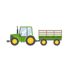 Green tractor with trailer for farming icon vector