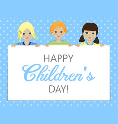 greeting card with childrens day vector image