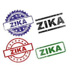grunge textured zika seal stamps vector image