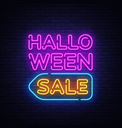 halloween sale text halloween sale neon vector image