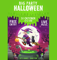 halloween witch and black cat flying on broom vector image