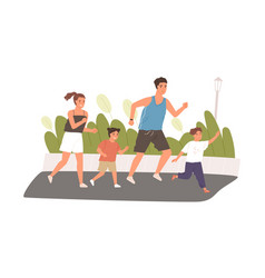 happy and healthy family with kids jogging or vector image