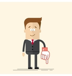 Happy businessman or manager It shows down his vector image