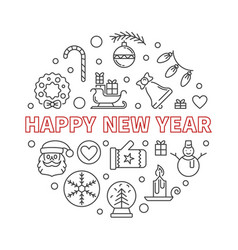 happy new year round outline creative vector image