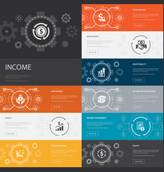 Income infographic 10 line icons banners save vector