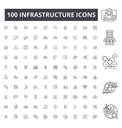Infrastructure line icons signs set vector
