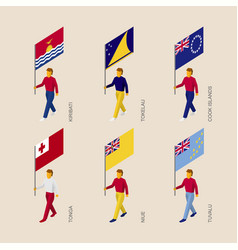 Isometric people with flags of oceania countries vector