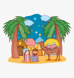 Joseph and mary with camel in the city and clouds vector