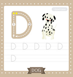 Letter d uppercase tracing practice worksheet dog vector
