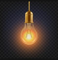 light bulb glowing bright light bulb icon vector image