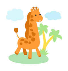 little cute giraffe character vector image