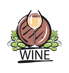 logo white wine barrel and vine vector image