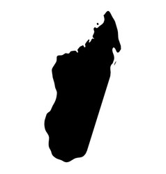 madagascar - solid black silhouette map of country vector image