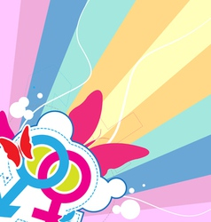 male and female with retro background vector image vector image