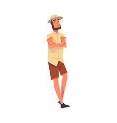 male tourist wearing safari outfit standing vector image