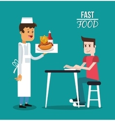 Man waiter and fast food design vector
