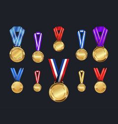 medals and ribbons set different colors vector image