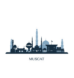 Muscat skyline monochrome silhouette vector