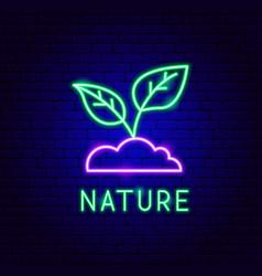 nature neon label vector image