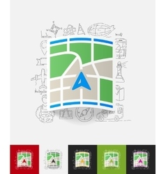 Navigator paper sticker with hand drawn elements vector