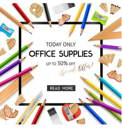 office supplies realistic background vector image