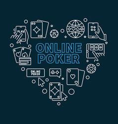 Online poker outline heart-shaped vector