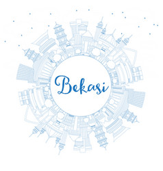 Outline bekasi indonesia city skyline with blue vector
