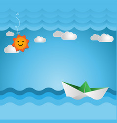 Paper boat with cute sun vector