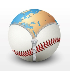 Planet Earth inside baseball ball vector