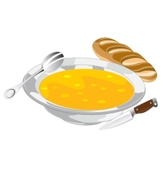 Plate with soup vector