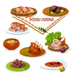 Polish cuisine savory dishes icon for menu design vector