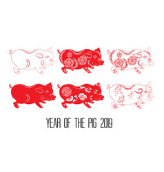 Red cut pig zodiac isolate on white background vector