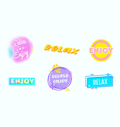 relax banners good vibes motivation icons set vector image